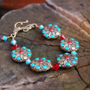 Aqua and Red Ethnic Bracelet
