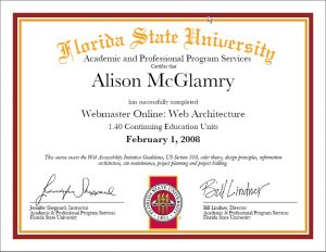 FSU Web Architecture Certification