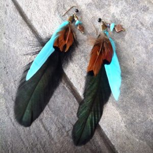 Image of feathered earrings